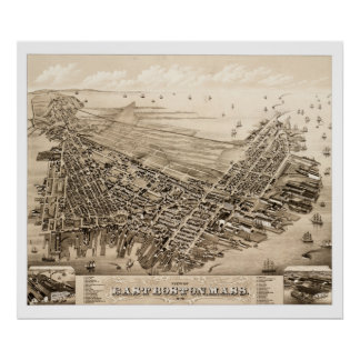 Póster Mapa de Boston del este, Massachusetts en 1879
