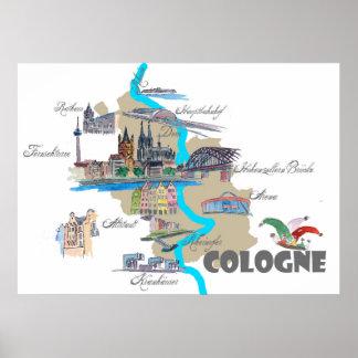 Póster Mapa de Colonia con puntos culminantes turísticos