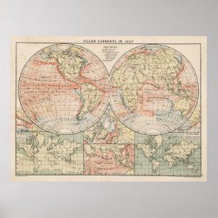 Póster Mapa de corrientes de océano del mundo del vintag