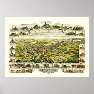Póster Mapa de Derry, New Hampshire a partir de 1898