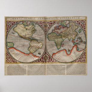 Póster Mapa de época del mundo (1587)