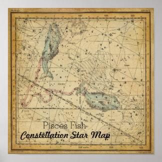 Póster Mapa de estrella de la constelación de los