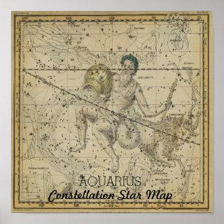 Póster Mapa de estrella de la constelación del acuario