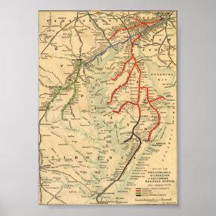 Póster Mapa de Filadelfia, Wilmington y Baltimore de los