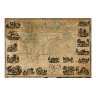 Póster Mapa de Hamilton, el condado de Madison, Nueva