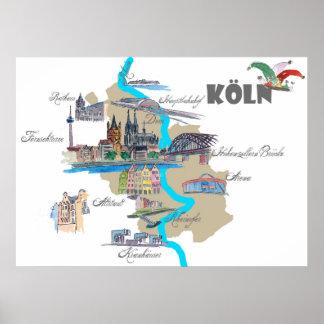 Póster Mapa de Köln con puntos culminantes turísticos