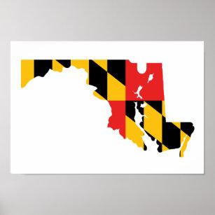 Póster Mapa de la bandera de Maryland