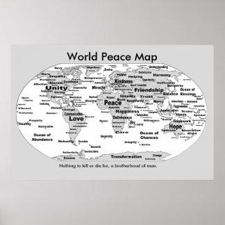 Póster Mapa de la paz de mundo - nada morir por
