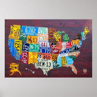Póster Mapa de la placa de los Estados Unidos Ed 2012. 1