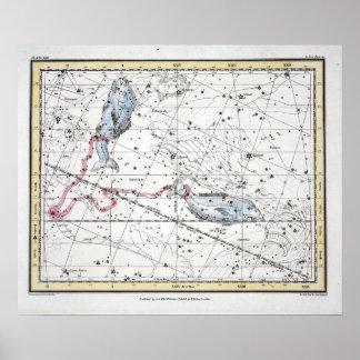 Póster Mapa de la placa XXII de las constelaciones