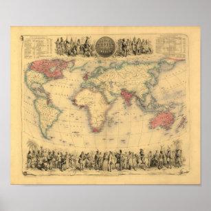 Póster mapa de los 1850's del Imperio británico en el