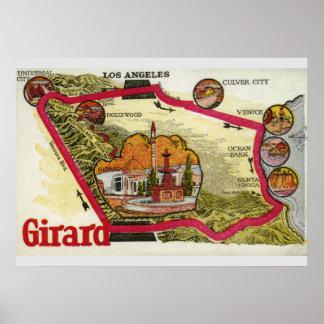 Póster Mapa de Los Ángeles del vintage