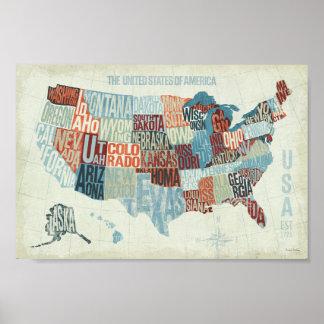Póster Mapa de los E.E.U.U. con los estados en palabras