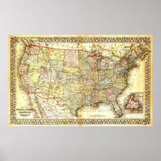 Póster Mapa de los Estados Unidos (siglo XIX)