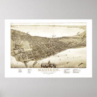 Póster Mapa de Madison, Wisconsin a partir de 1885