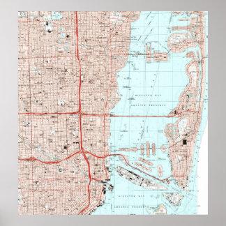 Póster Mapa de Miami la Florida (1994)