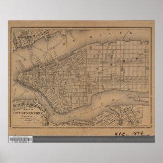 Póster Mapa de New York City del vintage
