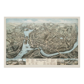 Póster Mapa de Norwich, CT a partir de 1876