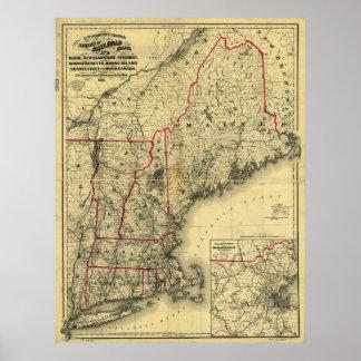 Póster Mapa de Nueva Inglaterra y de los alrededores