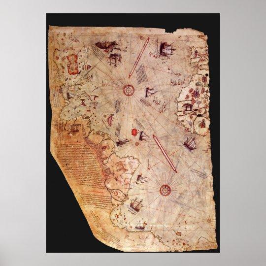 Póster Mapa de Piri Reis