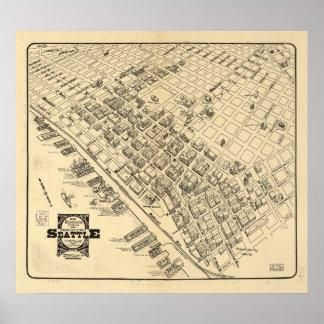 Póster Mapa de Seattle céntrico, 1903 del vintage