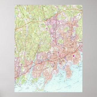 Póster Mapa de Stamford Connecticut (1987)