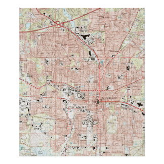 Póster Mapa de Tallahassee la Florida (1999)