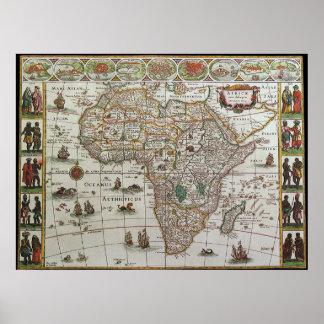Póster Mapa de Viejo Mundo antiguo de África, C. 1635