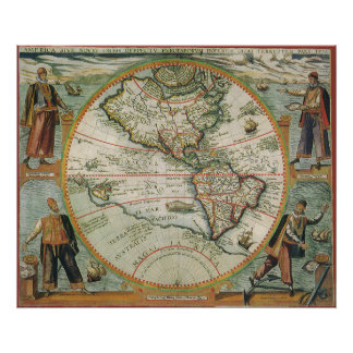 Póster Mapa de Viejo Mundo antiguo de las Américas, 1597