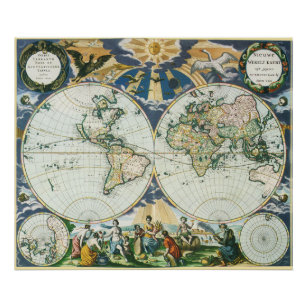 Póster Mapa de Viejo Mundo antiguo del vintage, 1666 por