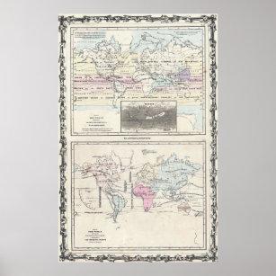 Póster Mapa de Vintage World Climate & Vegetation Map (18