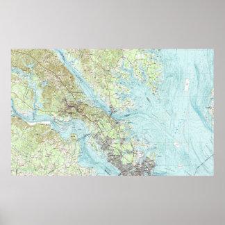 Póster Mapa de Virginia de la marea (1984)