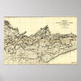 Póster Mapa del bosque del Estado de 1920 superiores