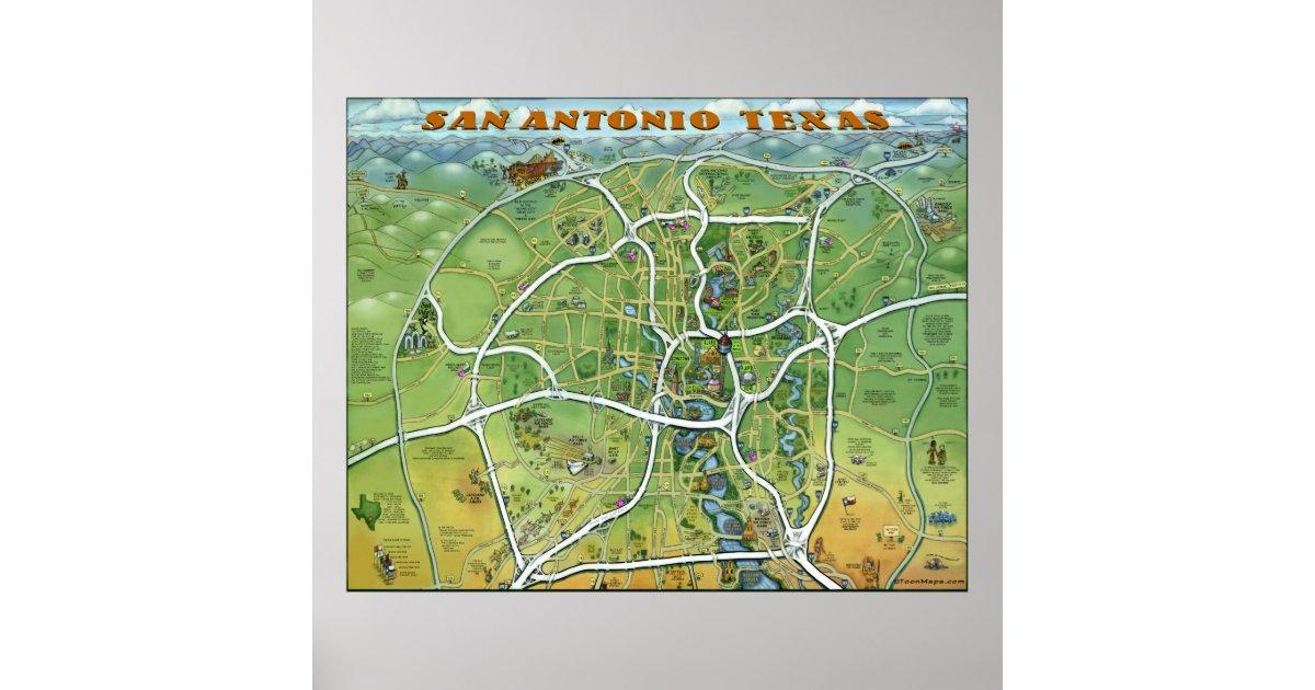 San Antonio En Dibujos Animados: Póster Mapa Del Dibujo Animado De San Antonio Tejas