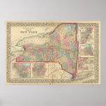 Póster Mapa del Estado de Nuevo York de Mitchell