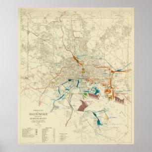 Póster Mapa del ferrocarril del MD de Baltimore del