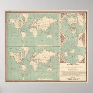 Póster Mapa del isoterma del mundo del vintage (1850)