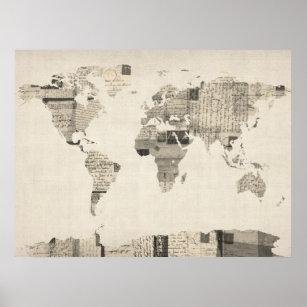 Póster Mapa del mapa del mundo de las postales viejas