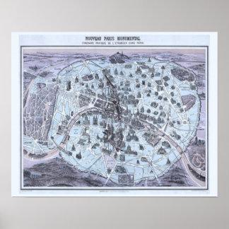 Póster Mapa del monumento de París con la princesa