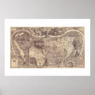 Póster Mapa del mundo 1507 de Martin Waldseemuller
