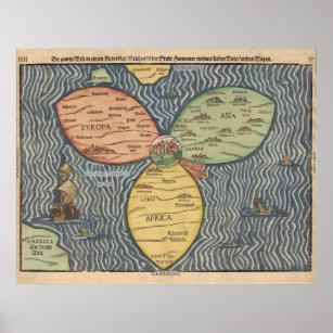Póster Mapa del mundo 1581