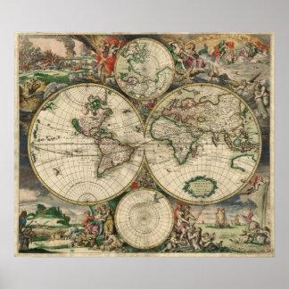 Póster Mapa del mundo 1869