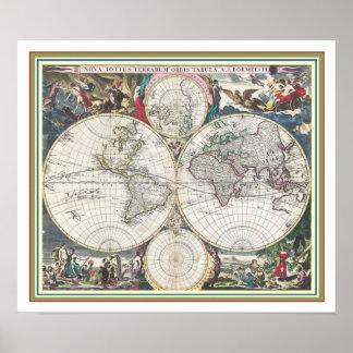 Póster Mapa del mundo 18 X 21 del vintage