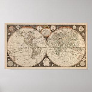 Póster Mapa del Mundo Antiguo, 1799 (Thomas Kitchen)