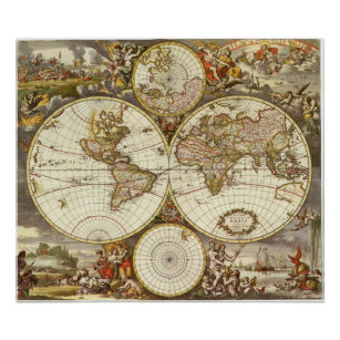 Póster Mapa del mundo antiguo, C. 1680. Por Frederick de