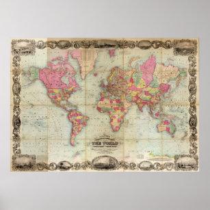 Póster Mapa del mundo antiguo de John Colton, alrededor d