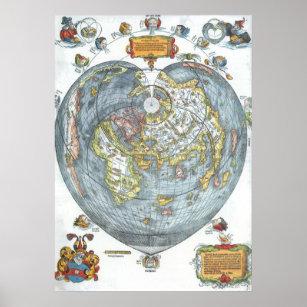 Póster Mapa del mundo antiguo en forma de corazón Peter