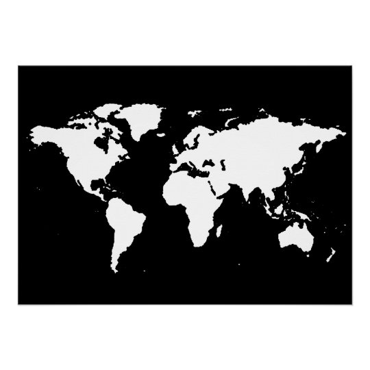 Blank Calendar Clipart : Póster mapa del mundo blanco y negro zazzle