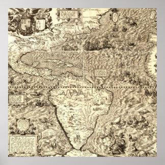 Póster Mapa del mundo de América de Diego Gutiérrez
