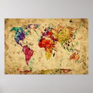 Póster Mapa del mundo de la acuarela del vintage